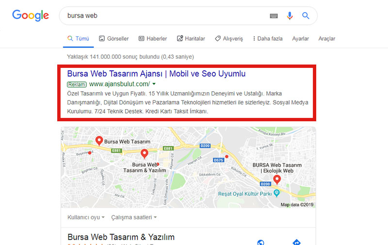 Bursa Google Reklam Örnek